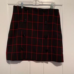 Loft, NWT. black skirt with red pattern, size 10